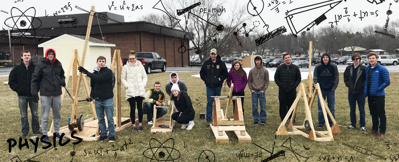 students with trebuchet