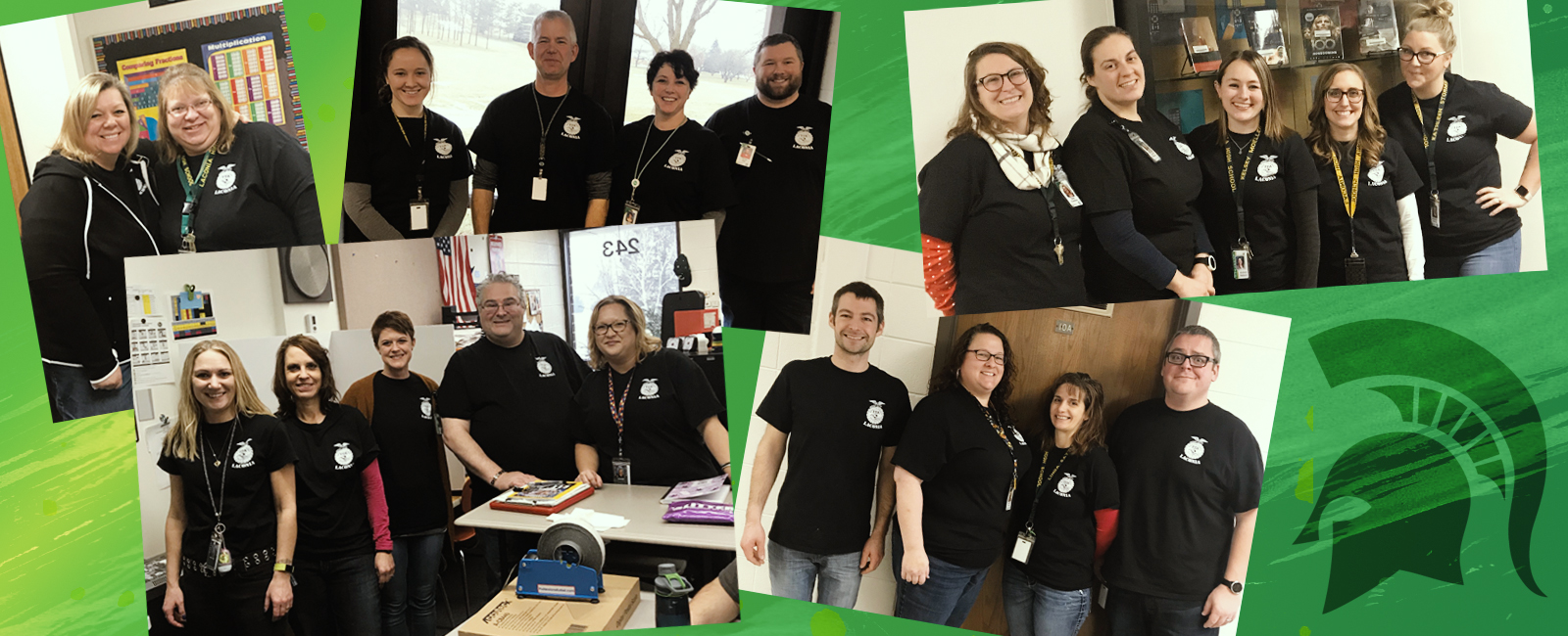 Lconia Staff in black helper shirts